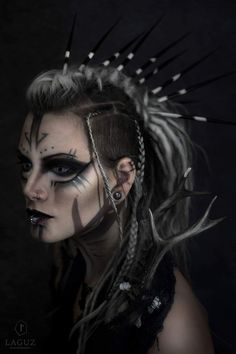Gothic makeup Porcupine Quill dreads https://www.facebook.com/Machinefairyofficial/