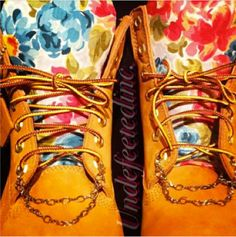 Floral Chained Timberlands by UndeFeeted on Etsy, $210.00