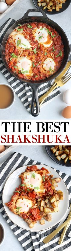 The best shakshuka recipe with perfectly spiced tomato sauce, peppers, onions, and eggs. The most epic brunch served with pan-fried potatoes or crusty bread! Savory Breakfast, Breakfast Recipes, Dinner Recipes, Dinner Ideas, Best Vegetarian Recipes, Healthy Recipes, Shakshuka Recipes, Vegan Queso, Meal Prep