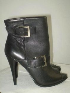 JESSICA SIMPSON ANKLE BOOT Dakee Black Leather Buckle Open Toe Stilleto Heel 7.5
