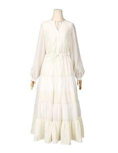 Artka Women's Boho Fashion V-neck Long Sleeve Lace Maxi Dress, Beige, M at Amazon Women's Clothing store: