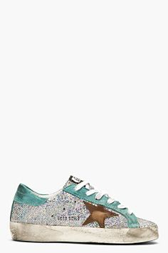 5813c20128e78 Golden Goose Silver Iridescent Scale Super Star Sneakers for women    SSENSE. BottinesMode ...