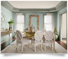 Benjamin Moore walls: Wythe Blue, Ceiling: Battenberg, Trim: Storm Cloud Gray (love the gray trim) - possible dining room paint combination Dining Room Paint Colors, Dining Room Blue, Elegant Dining Room, Dining Room Design, Dining Table, Bedroom Colours, Paint Colours, Dining Set, Wall Colors