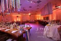 Vintage Wedding Style with Ribbons and Wood table