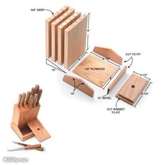 Easy Knife Block - This handsome knife block is fast, easy, fun to build and includes a 6-in.-wide storage box for a knife sharpener.To build one, you only need a 3/4-in. x 8-in. x 4-ft. hardwood board and a 6-in. x 6-1/2-in. piece of 1/4-in. hardwood plywood to match. Begin by cutting off a 10-in. length of the board and setting it aside. Rip the remaining 38-in. board to 6 in. wide and cut five evenly spaced saw kerfs 5/8 in. deep along one face. Crosscut the slotted board into four 9-in…