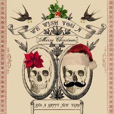 DIY Printable Skull Couple Holiday Christmas Card #AGHolidaySparkle