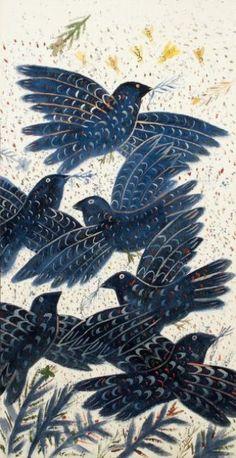 Alexandre FASSIANOS [grec] (né en 1935) Les oiseaux bleus Acrylique sur toile. Signée en b