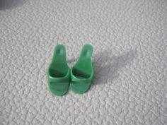 Vintage MATTEL Barbie Original Open Toe Shoes Green 1960. $25.00, via Etsy.