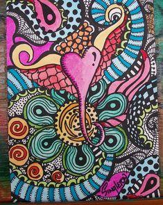 A Little Heart, Singleton Hippie Art, Original Zentangle. $38.00, via Etsy.