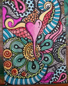 A Little Heart, Singleton Hippie Art, Original Zentangle. $38.00, via Etsy.