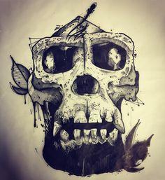 #ink #inked #tattoo #tattoos #tattooed #tattrx #btattooing #blackwork #dot #draw #drawing #blackandwhite #blackworkers #iblackwork #dotwork #blxckink #sketch #vsco #darkartists #black #illustration #art #graphic #magritte #apple #doodle #skull #gorilla