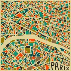 Mooi kleurgebruik Grafische plattegrond van de stad.  Bold Geometric Patterns : paris