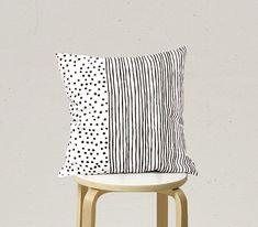 Black Dot Stripe Pillow, Black and White Pillow C4