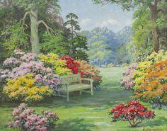 Vintage Home - 1930s Azaleas Kew Gardens Painting.