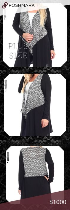 2LEFT🆕🅿️5⭐️Plus Size Black Zig Zag Cardigan New Plus Size Black Color Lounge Zig Zag Accent Duster Color: Black Material:  Self: 53% Polyester 43% Rayon 4% Spandex Cont: 97% Rayon 3% Spandex Made in USA Fits true to size Size: XL, 2X, 3X, 4X Great Quality   💠💠PRICE FIRM UNLESS BUNDLED💠💠 ⭐️⭐️SORRY NO TRADES AND LOWBALL OFFERS WILL BE IGNORED ⭐️⭐️ 🌺🌺ADDITIONAL MEASUREMENTS AVAIL UPON REQUEST 🌺🌺 Glam Squad 2 You Sweaters Cardigans