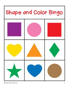 Shapes And Colors Bingo Game Cards In 4x4 3x3 5x5 Grids