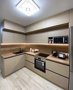 Small Modern Kitchens, Modern Kitchen Interiors, Luxury Kitchen Design, Kitchen Room Design, Modern Kitchen Cabinets, Kitchen Cabinet Design, Kitchen Layout, Home Decor Kitchen, Interior Design Kitchen