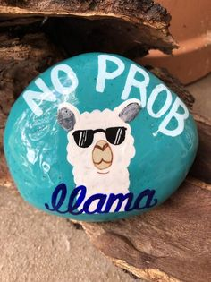 No Drama Llama with turquoise accents hand painted rock sealed in resin unique gift idea