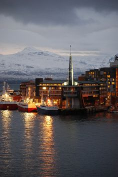 Rica Ishavshotel at dawn, Tromso, Norway,