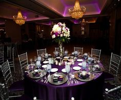 Purple Wedding Reception Table Decor (needs some blue, but otherwise it's perfect!)