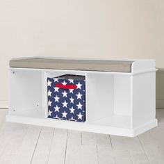 Abbeville Storage Bench - White with Natural Cushion - Hallway Storage - Toy Storage Indoor Storage Bench, Hall Tree Storage Bench, Storage Bench With Baskets, White Storage Bench, Storage Bench Seating, Bench Set, Cube Storage, Storage Spaces, White Bench