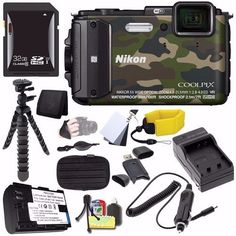 """Nikon COOLPIX AW130 Waterproof Digital Camera (Camouflage) - International Version (No Warranty) + EN-EL12 Battery + External Charger + 32GB SDHC Card + Small Case + Mini Flexible Tripod Saver Bundle. This version is originally intended for sale outside the USA. User Manual May Not Be Included. 16MP 1/2.3"""" CMOS Sensor NIKKOR 24-120mm f/2.8 Lens (35mm Equiv). 5x Optical Zoom, 3"""" 921k-dot OLED Screen Full HD 1080p Video with Stereo Sound, Depth Rating: 100' Shock-Proof: 7' Freeze-proof…"""