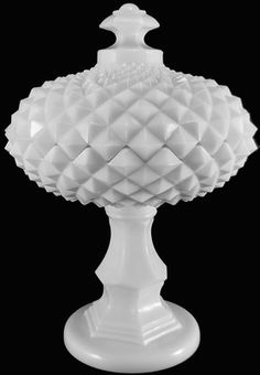 Vintage Westmoreland Milk Glass Sawtooth Pattern Compote & Lid. I have this piece.