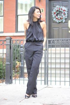 Black Jumpsuit, Monochromatic. Leopard clutch, Holiday outfit, Holiday Style