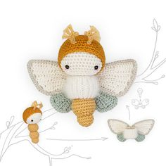 crochet pattern lalylala butterfly GOLDEN DAYDREAM MOTH
