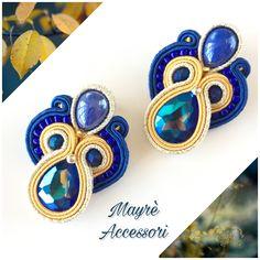 Yellow Earrings, Soutache Earrings, Blue Crystals, Statement Earrings, Glass Beads, Jewelery, Jewelry Design, Pendant, Gifts