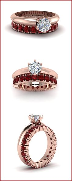 Round Solitaire Diamond Ring with Ruby Eternity Band