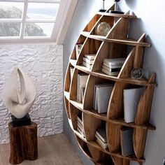 Wood Profits - Wood Profits - Circular book shelf - Discover How You Can Start A Woodworking Business From Home Easily in 7 Days With NO Capital Needed! Discover How You Can Start A Woodworking Business From Home Easily in 7 Days With NO Capital Needed! Cool Furniture, Furniture Design, Furniture Plans, Wooden Furniture, System Furniture, Furniture Chairs, Bedroom Furniture, Outdoor Furniture, Nautical Furniture