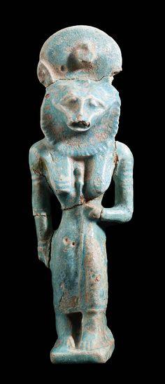 Blue-glazed faience amulet of Sakhmet (Sekhmet). Nubian. Naptan Period. Reign fo Piankhy (Piye). 743-712 B.C.  | The Museum of Fine Arts, Boston