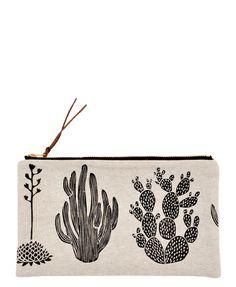55bf6891f0df Cactus Print Linen Pouch