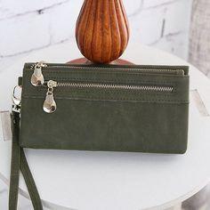 High Capacity Fashion Women Wallets Long Dull Polish PU Leather Wallet Female Double Zipper Clutch Coin Purse Ladies Wristlet