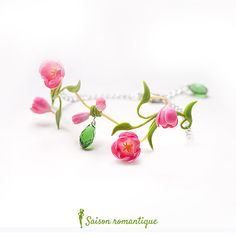 Collection Spring Spirit March 2015 by Saison romantique Bracelet Spring Spirit made from air dry clay. Size: 18 cm with chain (if you need another length, note me)  IMPORTANT! Please, be sure you notify a flowers looks like a real flowers. They are not flat and can stick out.  Interesting and delicate pendant with Pink Tulips. Exclusive, unique pendant made from air-dry clay from start to end by my hands, petal by petal. No two pieces will be exactly alike. Like a real flowers! Not fragile…