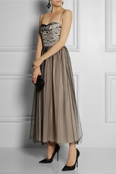 RED Valentino|Lace and tulle-overlay taffeta gown|NET-A-PORTER.COM