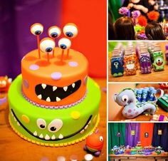 halloween cakes Monster themed birthday party with a colorful monster cake, plush dolls, layered jello, fuzzy headbands, lollipops and lots more goodies! Scary Halloween Cakes, Halloween Torte, Bolo Halloween, Halloween Birthday Cakes, Halloween Foods, Spooky Scary, Halloween Desserts, Halloween Horror, Halloween Candy