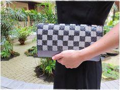 Beaded clutch purse gray satin evening by KawaiiSakuraHandmade