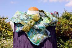 Nuno felted textured skinny scarf blue green by Angelab5705, £47.50