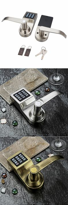 Electronic password locks keypad entrance latch bolt door lock with mechanical keys stain nickel 718