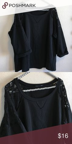 Cable & Gauge Woman Lace Shoulder Black Sweater This Cable & Gauge Woman Lace Shoulder Black Sweater is 3/4 sleeve size 2X. In excellent condition, only worn once. Doesn't fit me very well and haven't worn in awhile so deciding to let her go. A very sexy plus size sweater has a sweatshirt type feel with a little stretch to it. 96% cotton and 4% spandex. Smoke free home. Cable & Gauge Tops Sweatshirts & Hoodies