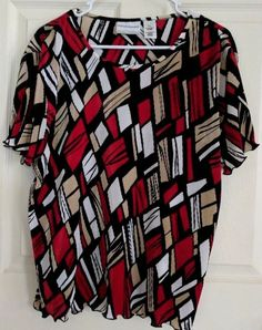 063cf2a2a92d0 Alfred Dunner Petite Size PXL Blouse Red Tan Black Short Sleeves   AlfredDunner  Blouse