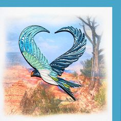 "Quilled ""any occasion"" greeting card with eagle flying over the Grand Canyon"