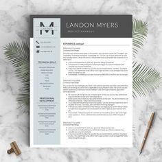 Modern Resume Template for Word 1 2 & 3 Page by LandedDesignStudio