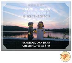 Druckbare und individualisierbare  Lego Hochzeitseinladung