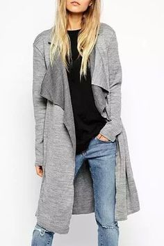 Lapel Self-Tie Belt Gray Trench Coat