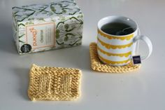 knitted coaster cup of tea