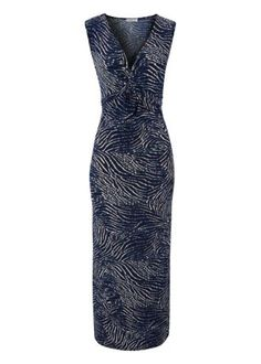 Soon Zebra Twist Front Maxi Dress by Matalan