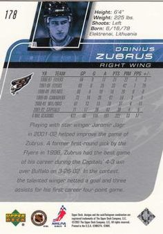 2002-03 Upper Deck #178 Dainius Zubrus Back